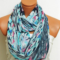 Aztec Scarf,,Infinity Scarf ,shades of and blue...chiffon fabric..Loop Scarf,,Infinity Scarves. Circle Scarf ,Womens Accessories.