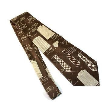 80s necktie Polo by Ralph Lauren. Brown beige shirts neckties print. Silk tie. Made