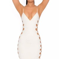 Perfect 10 White Spaghetti Strap Cut Out Side V Neck Bodycon Bandage Midi Dress