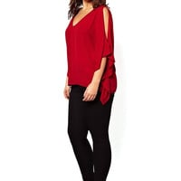 Red Maxi Chiffon Blouses With V Neck And Cold Shoulder