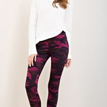 Insta Buzz Camouflage Print Pintuck Leggings - 2 Colors Available (Pre-Order)