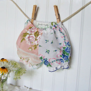 Baby Girl Gift Diaper Cover Bloomers Vintage Handkerchiefs Size Newborn - 6 months Hankie Panties Rose Pattern Pastel Colors