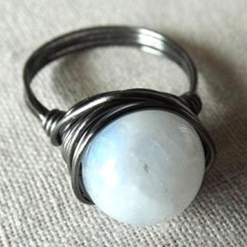 Gunmetal Ring - Moonstone Ring - Rainbow Moonstone Ring - Wire Wrap Ring - Blue Flash Ring - Unique Ring - Big Stone Ring - Gifts Under 20