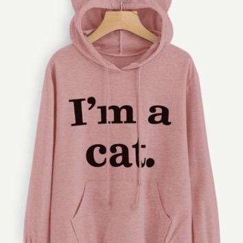 """""""I am a Cat"""" Hooded Sweatshirt with Cat Ears Pink"""