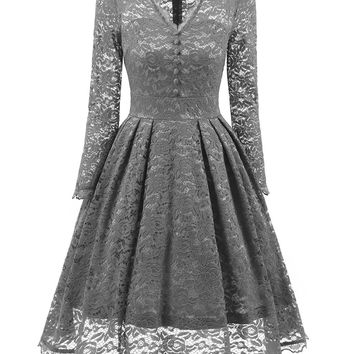 A| Chicloth Gray Long Sleeve V-Neck Homecoming Lace Dress
