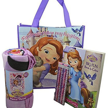 Gift Set of 5Pieces Disney Sofia The First Throw Blanket with 2 Tote Bags, Coloring Book and Pencils
