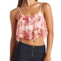 Floral Print Lace Swing Crop Top by Charlotte Russe - Red Combo