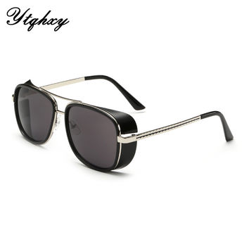 Male Steampunk Sunglasses Tony Stark Iron Man Sunglasses Retro Vintage Eyewear Men Steampunk Sun Glassesoculos de sol Y122Y