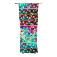 "Alveron ""Neon Geo Galaxy"" Rainbow Decorative Sheer Curtain"
