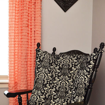 Ruffled Curtain Panel, Apricot pink, Orange, 84 Inches Long by 44 Inches Wide