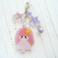 Pink Fairy Kei Doll with Pastel Stars,  Zipper Pull / Charm, Cute Beaded Accessory
