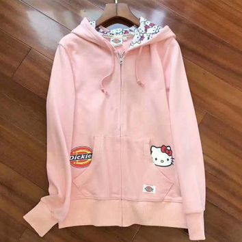 ONETOW Dickies  HelloKitty Fashion Print Sport Cardigan Jacket Coat Sweatshirt