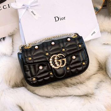 GUCCI 2018 new double G Marmont pearl quilted chain bag diagonal shoulder bag black