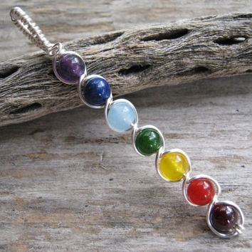 7 Chakra Pendant, Wire Wrapped Chakra Wand, Chakra Rainbow, Gemstone Chakras Jewelry, Yoga Inspired, Buddhist Hindu, SILVER, READY To SHIP