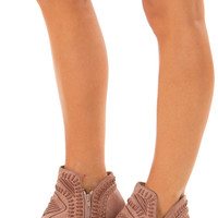 Dusty Rose Faux Leather Boho Heeled Bootie