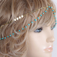 Retro Style Handmade Turquoise Beads Multilayer Hairband For Women