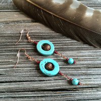 Hippie Jewelry, Beaded Earrings, Bohemian Earrings, Boho Jewelry, Gemstone Jewelry, Gypsy Jewelry, Turquoise Earrings, Boho Earrings