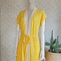 Vintage 1970s Canary Yellow + Cover Up Robe