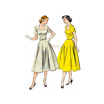 1950s Sweetheart Neckline Dress Pattern Butterick 6355 Easy Flared Skirt Dress Size 12 Bust 30