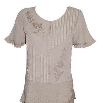 Women's Sexy Top Blouse Bohemian Embroidered Beige Boho Peasant Tunic Top M: Amazon.ca: Clothing & Accessories