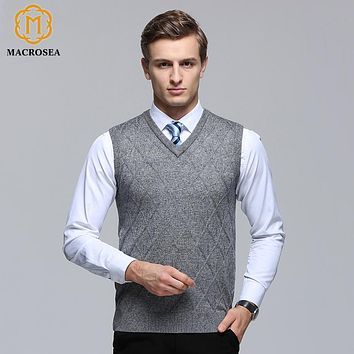 MACROSEA Classic Design Argyle Pattern Men's Plaid Fromal Casual Vest Sweater Male Sleeveless V-Neck Knitted Wool Pullover Vest