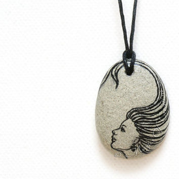 Black and gray stone necklace: original painting and design on river stone, unique art jewelry for her!