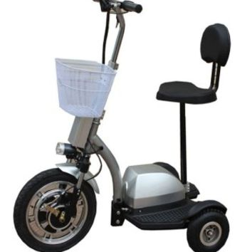 Q33-Deluxe STAND & RIDE 3 Wheel Electric Mobility Scooter (Silver)