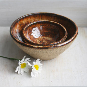 Pair of Rustic Nesting Bowls with Raw Speckled Stoneware Exterior and Rich Brown Glaze on inside In Stock Made in USA