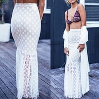 Mesh Polka Dot Print Bodycon Fishtail Maxi Skirt