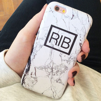 Marble Monogram Phone Case  - iPhone 6 Case - iPhone 5 Case - iPhone 4 Case - Samsung S4 Case - iPhone 5C - Tough Case - Matte Case
