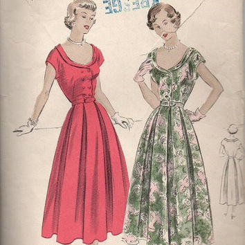 Vogue 1940s Sewing Pattern 6715 Vintage Tea Garden Party Dress Fitted Double Breasted Bodice Inverted Pleat Full Skirt Bust 30
