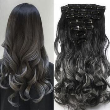 20'' Long Curly Wave Women 7pcs/set Clip in Hair Extension Highlight Synthetic Ombre Wig Gradient Color Hairpiece [8323049473]