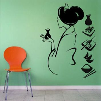 DCTAL Sushi Decal Restaurant Sticker Posters Vinyl Wall Decals Pegatina Quadro Parede Decor Mural Sushi Sticker