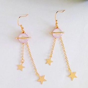 Space Saturn Earrings