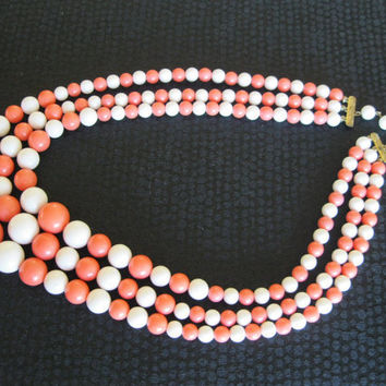 Salmon and White 3 Strand Necklace Vintage