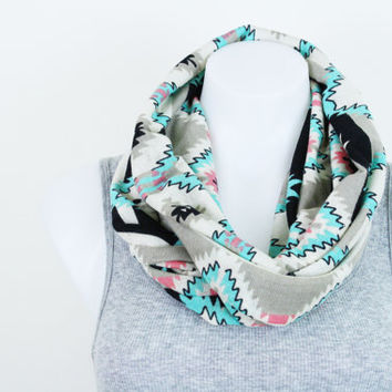 Infinity Scarf / Tribal Print Scarf / Polyester Knit Scarf / Chunky Scarf / Women's Accessories (SCF1004)