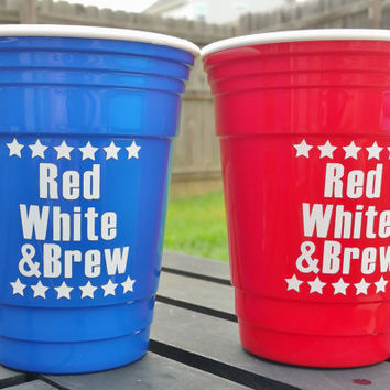 Red White & Brew Reusable Solo Cup