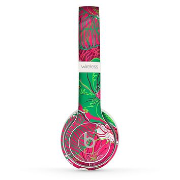 The Bright Pink and Green Flowers Skin Set for the Beats by Dre Solo 2 Wireless Headphones