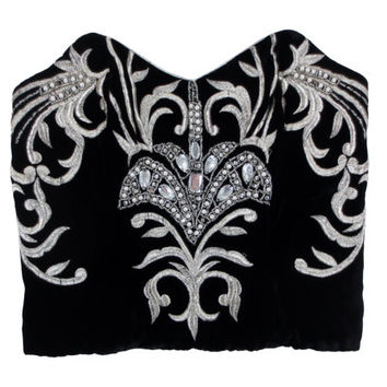 CLEARANCE SALE// Black Velvet Embroidered Bustier Top - Silver Metallic, Formal, 80s, 90s
