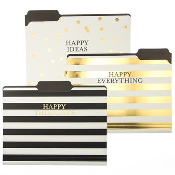 Happy Ideas File Folder Set in Polka Dots and Stripes