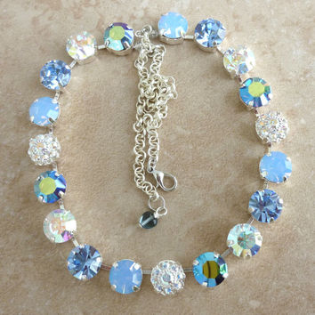 swarovski crystal necklace, better than sabika, metallic and light blue, large stone