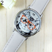 Fashion Design Glasses Cat Dial Leather Band Analog Quartz Wrist Watch = 1929855620