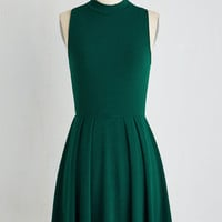 Short Length Sleeveless A-line Seeking Regal Advice Dress in Forest by ModCloth