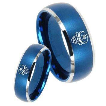 His Her Satin Blue Dome Skull Marijuana Leaf Two Tone Tungsten Wedding Rings Set