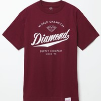 Diamond Supply Co World Champs T-Shirt - Mens Tee - Maroon