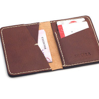 Personalized Leather Bifold Wallet Italian Veg Tan Brown Leather