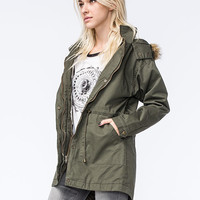 FULL TILT Twill Fur Trim Womens Hooded Parka | Jackets