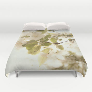 Art Duvet Cover Soft White Flowers photography home decor photograph Nature photo bedding full queen king ethereal light shabby chic bedroom
