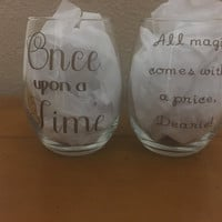 Once Upon a Time stemless wine glass set