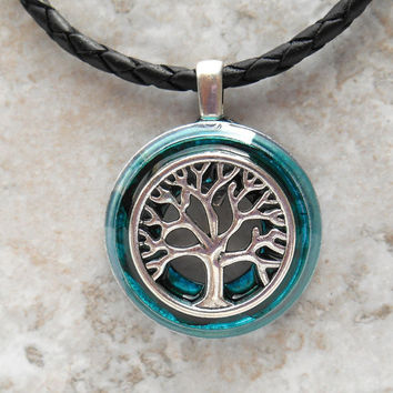 tree of life necklace: teal - celtic jewelry - tree necklace - elven jewelry - forest jewelry - unique gift - nature necklace - wiccan